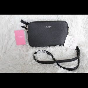 Kate Spade Double Zip small Crossbody In Black NWT